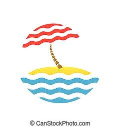 beach umbrella and sea, tourism logo - beach umbrella and...