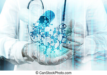 Double exposure of scientist doctor hand holds virtual...