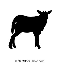 Black silhouette of sheep on white background