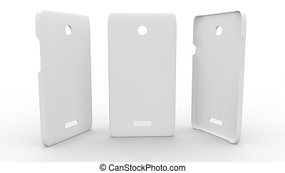 White plastic case for phone on a white background