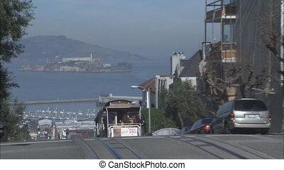 San Francisco Trolley with a zoom into Alcatraz island