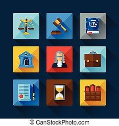 lei, ícones, jogo, em, apartamento, desenho, style.,