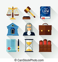 Law icons set in flat design style