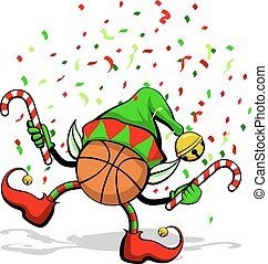 Basketball Christmas Elf - A basketball celebrating...
