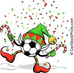 Soccer ball or Football Christmas Elf - A soccer ball or...
