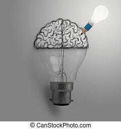 begriff, Licht, Idee,  Hand, gehirn, gezeichnet, zwiebel, kreativ