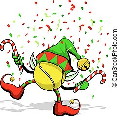 Tennis Christmas Elf - A tennis ball celebrating Christmas...