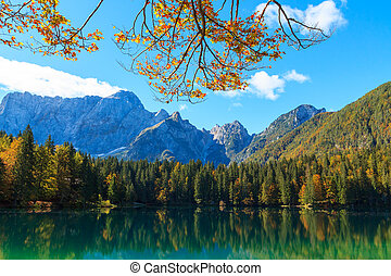Beautiful Laghi di fusine lake in Italian alps