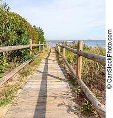Beach Access - Wood Deck pathway to the beach on the...