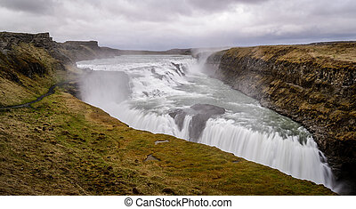 Gullfoss waterfall, Golden Circle tour, Iceland - Panoramic...