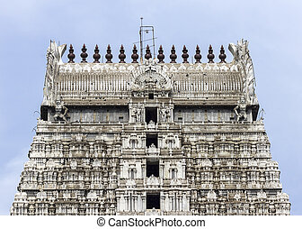 Annamalaiyar Temple, top of eastern gopuram in...