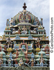 Tower on top of Murugan Shrine at Thiruvannamalai temple. -...