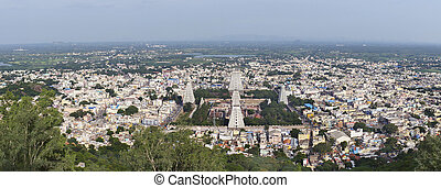 Annamalaiyar temple and Thiruvannamalai - Wide shot from the...