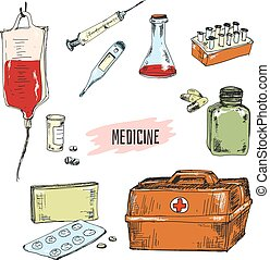 Medicine. Collection of hand drawn graphic illustrations