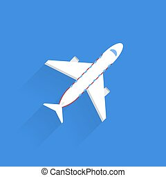 Passenger plane icon with shadow