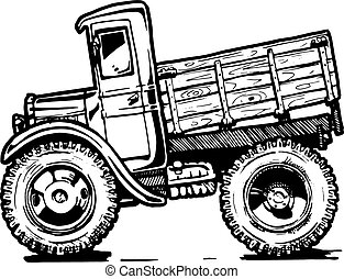 vintage truck - Vector black and white illustration of retro...