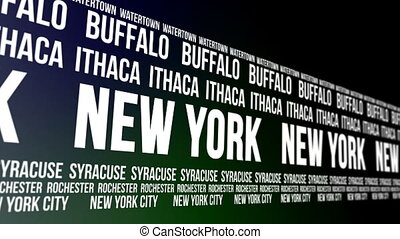 New York State and Major Cities - Animated scrolling banner...