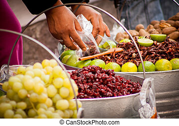 Sell of fried insects and worms