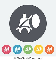 Seat belt Single flat icon on the circle Vector illustration...