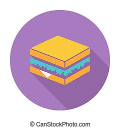 Sandwich Single flat color icon Vector illustration