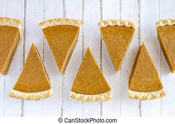 Homemade Pumpkin Pie Slices - 7 slices of homemade pumpkin...