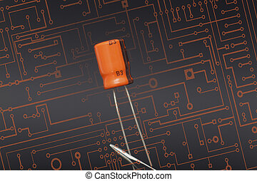 Capacitor - Detail of capacitor in black background