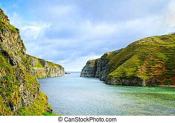 Smoo Cave bay landscape in Durness. Highlands of Scotland,...
