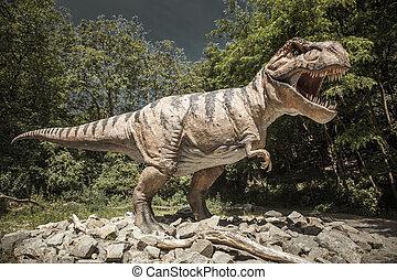 realístico, modelo, de, dinossauro, Tyrannosaurus, Rex,