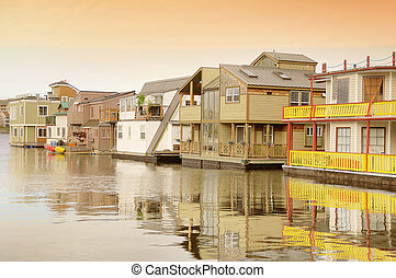 Floating houses in Victoria Vancouver island Canada