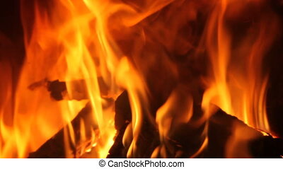 Flames of a Fireplace - Burning fire to keep you warm