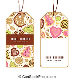 Vector colorful cookies vertical stripe frame pattern tags set