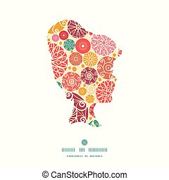 Vector abstract decorative circles girl portrait silhouette pattern frame