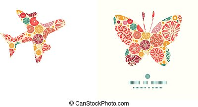 Vector abstract decorative circles butterfly silhouette...