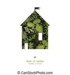 Vector evergreen christmas tree house silhouette pattern...