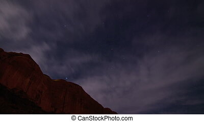 Star Tracking Time-lapse - Clouds passing over a mesa in...