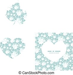 Vector shiny diamonds heart silhouette pattern frame graphic...