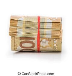 Roll of Canadian dollars - Roll of Canadian banknotes wraped...