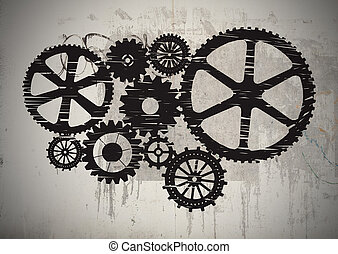 Gears - Black gears painted on gray wall