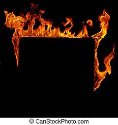 Burning fire frame in black