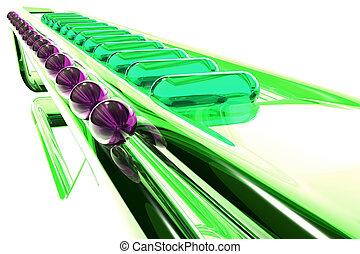 vetro, astrazione, verde, Futuristico