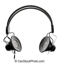 Headphones - Vintage headphones on white background