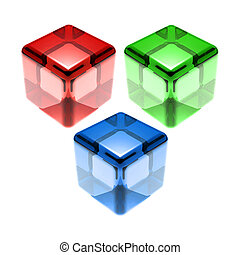 red green blue glass cubes isolated