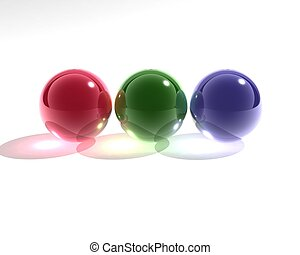 rgb glass spheres