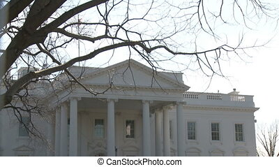 U.S. White House, Tilt Down - Looking across the North Lawn...