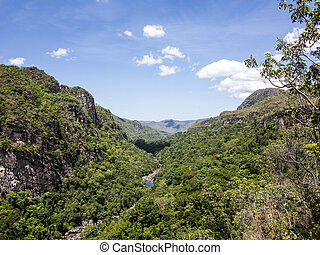 river in Chapada dos Veadeiros National Park in trpoical...