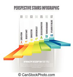 Perspective Stairs Infographic - Vector illustration of...