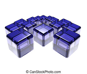 abstract composition of blue glass cubes over white...