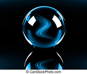 bright blue abstract waves in the glass sphere on the black...