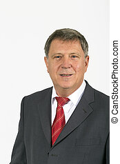 Portrait of happy smiling business man, isolated over white...