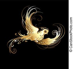 golden bird - shiny, golden, artistically painted bird on a...